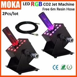 2pcs/lot LED CO2 Jet Machine 12*3W RGB Color Multi angle Stage DMX CO2 Jet  dj Equipment CO2 Special Effect Cannon Jets for Sale