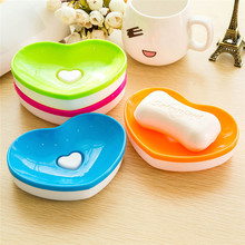 Hot Toilet Soap plastic Silicone Holder Plate Bathroom Heart Shape Soapbox Soap Dish cute style drop shipping