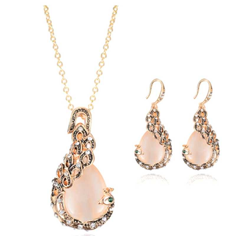 2018 Новая мода розовое золото цвет розовый форма павлина ожерелье серьги набор свадебных украшений для женщин Девушка ожерелье для подарков