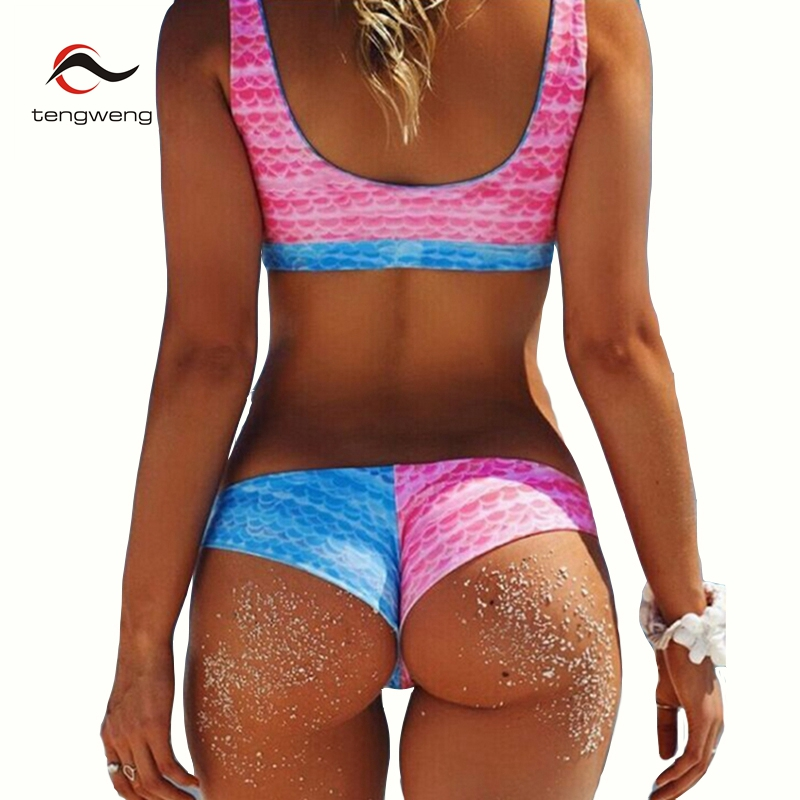 2017 Women New Cute Two Piece Fish Scales Print Bikini Set Bandeau Swimsuit Blue Pink Patch Swimwear Sport BathingSuit Beachwear