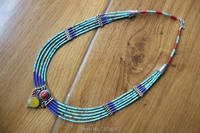 NK205 Nepal Handmade Copper Inlaid Lapis Colorful Stone Pendant Necklace Ethnic Tibetan 5 Layers Beaded Necklace Free Shipping