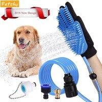 Petshy Dog Cat Bath Shower Sprayer Pet Silicone Bathing Massage Glove Dogs Sprayer Scrubber Grooming Cleaning Brush Bathing Tool
