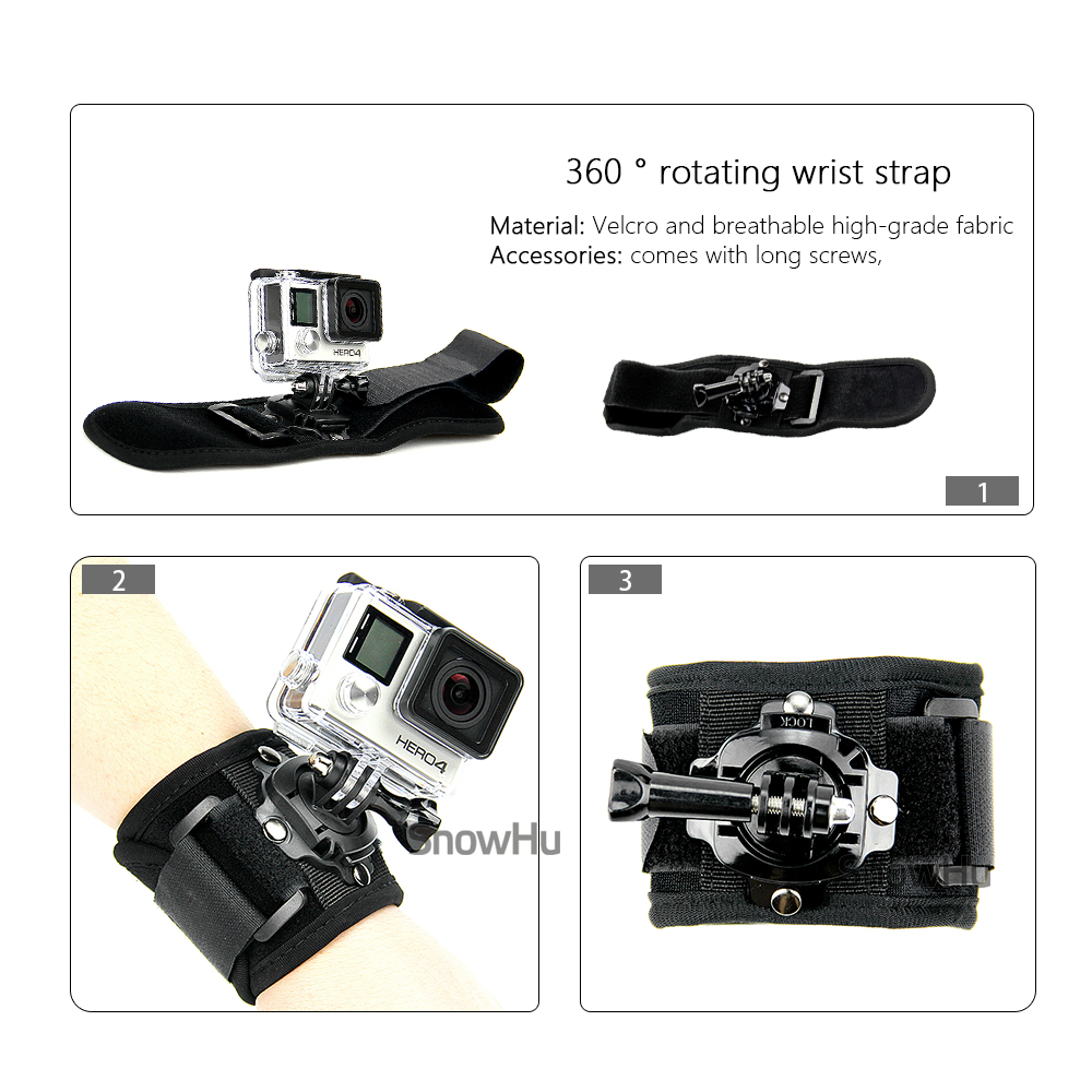 SnowHu 360 Degree Rotation Hand Wrist Strap for GoPro Hero 7 5 6 4 Session Xiaomi Yi 4K Lite H9r Arm Belt Go Pro Accessory GP128 in Sports Camcorder Cases from Consumer Electronics