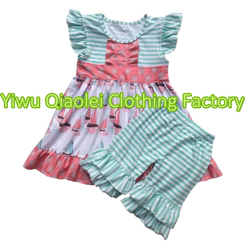 2018 girls set saliing design baby clothes wholesale