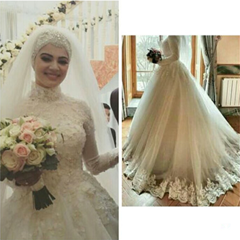 Luxury Jewel Lace Long Sleeves Muslim font b Hijab b font Wedding Dress 2017 lace up