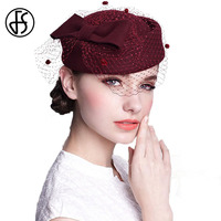 Women Australian Wool Pillbox Hats With Veil For Ladies Cocktail Party Fascinator Bow Wedding Hat French Artist Stewardess Caps