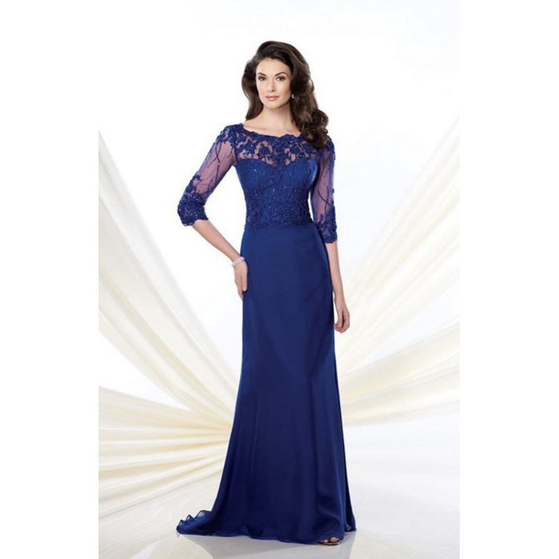 2015 Evening Gown Blue Prom Elegant Scoop Illusion Half Sleeve Aline Sweep Train Formal Fall Winter Mother Of The Bride Dresses