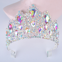 Statement Silver AB Color Wedding Hair tiara Large Teardrop Crystal Women Crowns with comb Bridal Headpiece Hair Jewelry diadema
