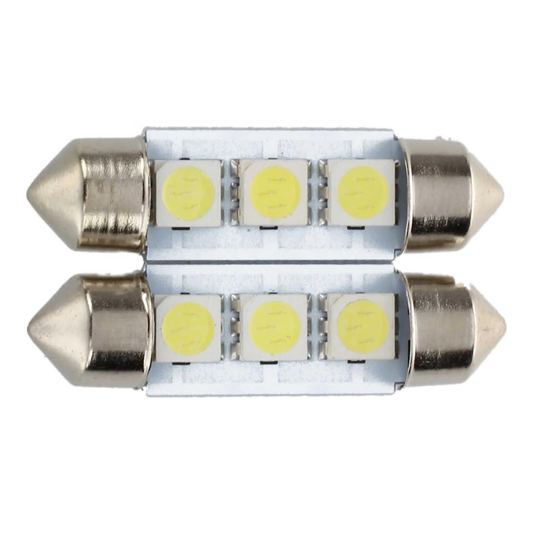2X C5W 3 LED SMD 5050 34 Mm Xenon Putih Lampu Plat Antar-jemput Festoon Dome Langit-langit Lampu Mobil