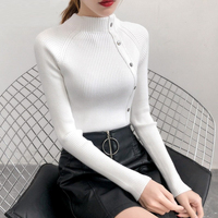 Skinny turtle neck knitted sweater women Winter long sleeve buttons pullover sweater Casual high street stripe jumper 2018
