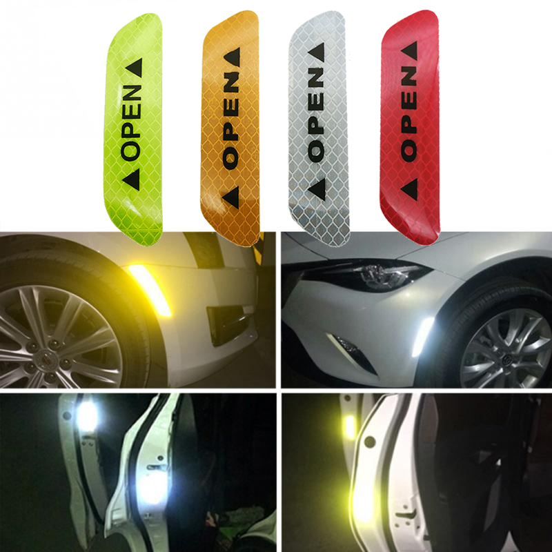 4Pcs/set Warning Mark Reflective Tape Car Door Sticker Decals OPEN Sign Safety Reflective Strips Universal Exterior Accessories