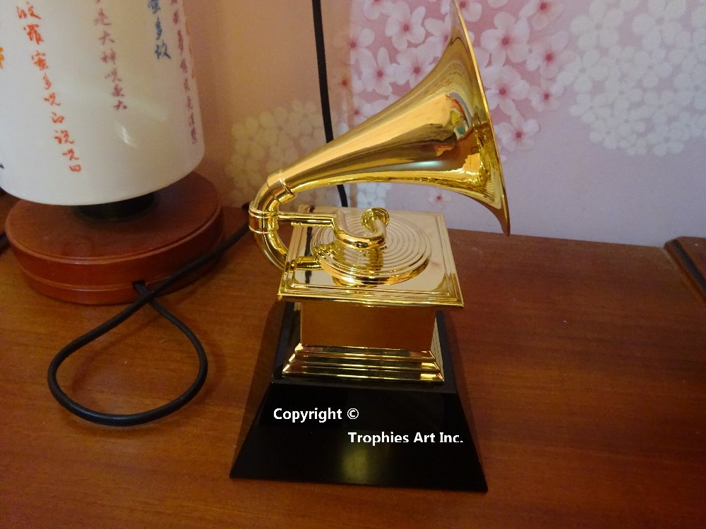 Grammy Award Trophy Metal Gramophone Marble Base by NARAS 1:1 Real Size