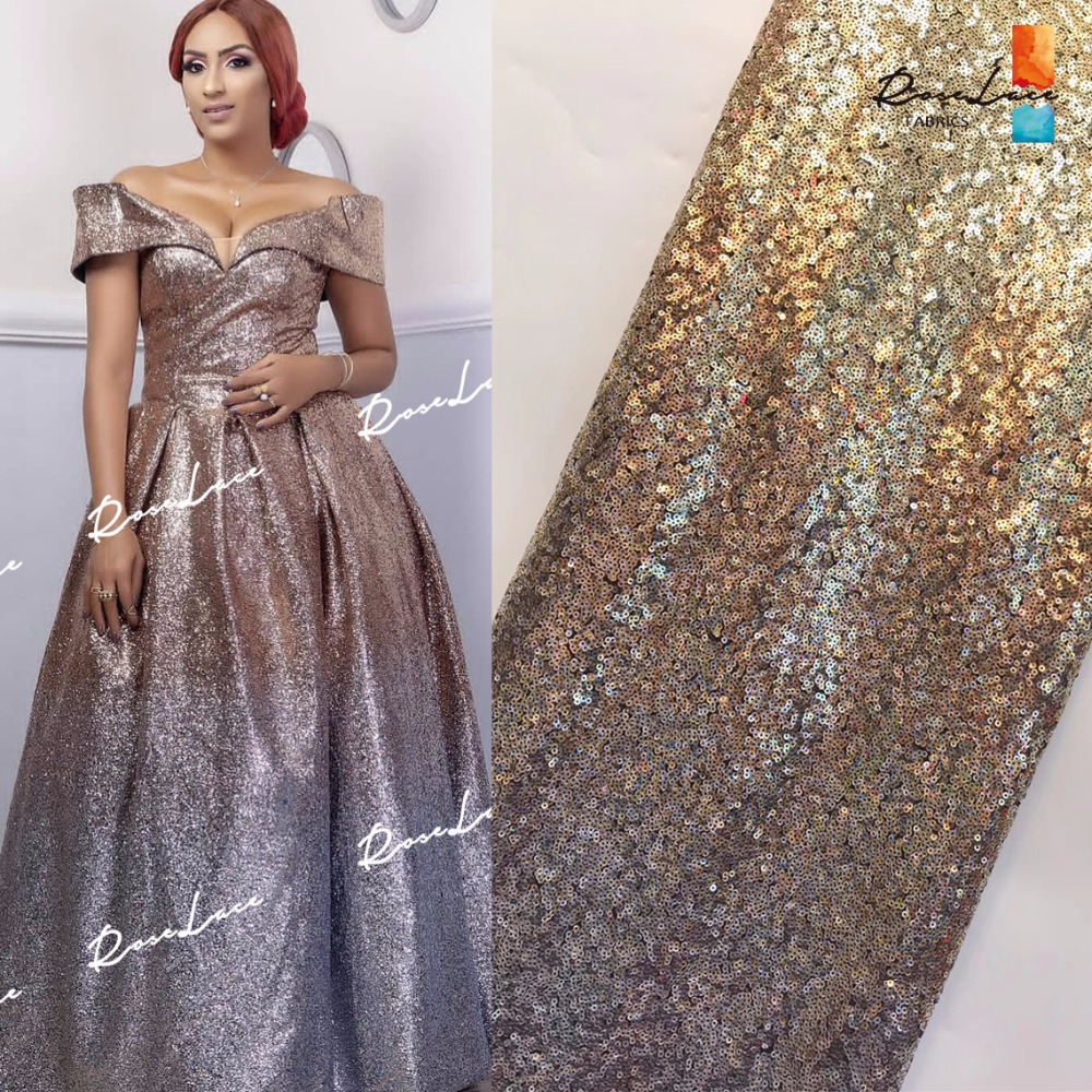 New Fabshion 2019 Gradient Colour Sequined Mesh Fabric African French For Party Dress In Glod And