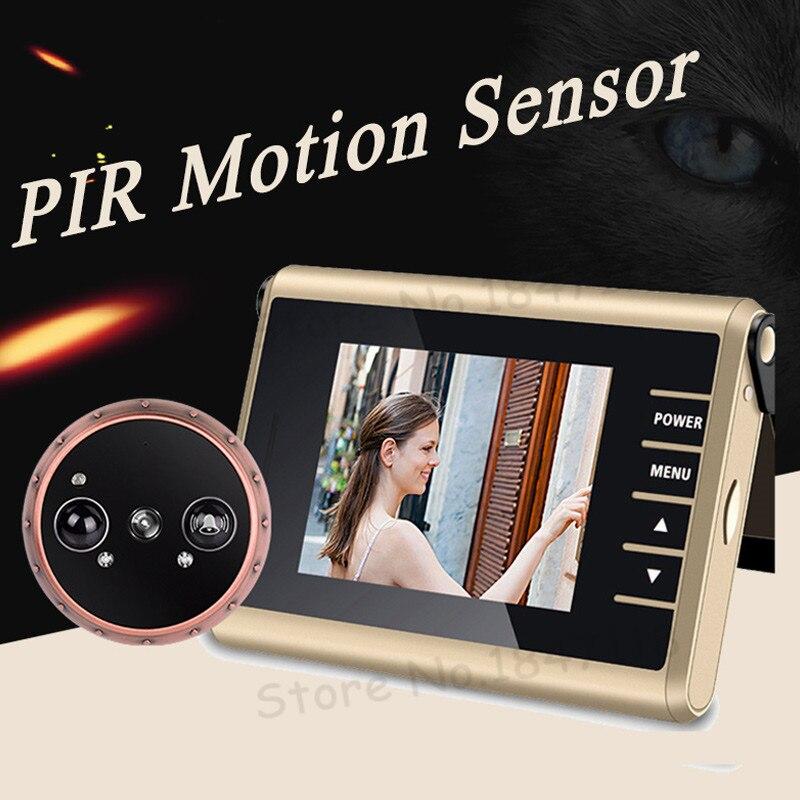 Nouveau PIR Détection De Mouvement Enregistrement Vidéo Automatique Porte Judas Caméra 3.0 LCD Électronique Intelligent Peephole Porte Caméra Avec Sonnette