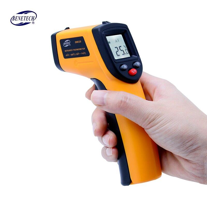 Gm320 Termometro A Infrarossi senza contatto digitale termometro a infrarossi della temperatura Pirometro IR Laser Pistola del Punto-50 ~ 380 gradi