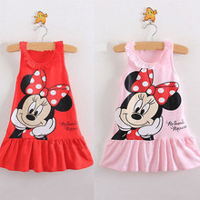 Red/Pink Baby Girls Dress Kids Cartoon Tops Clothes Party Dr