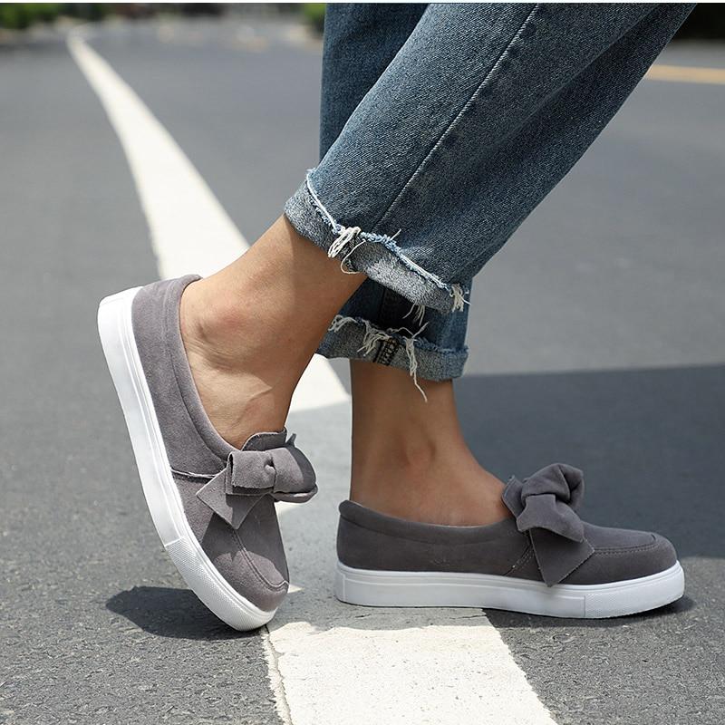 MCCKLE mocasines de Mujer Plus tamaño plataforma antideslizante en Bowtie zapatos planos zapatos de costura de Bowknot zapatos para mujer rebaño mocasines calzado