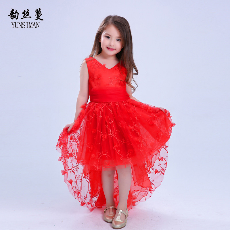 Girls Princess Dresses 6 8 10 to 12 Years Sleeveless Floral Girls Tailing Dress Kids Party Dress 2 4 Summer Kids Clothing 7B02 summer 2017 new girl dress baby princess dresses flower girls dresses for party and wedding kids children clothing 4 6 8 10 year