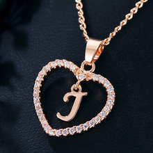 Fashion DIY Letter Custom Pendant Necklaces Women Girl Long Rose Gold Sliver Heart Necklace Statement Jewelry Gifts