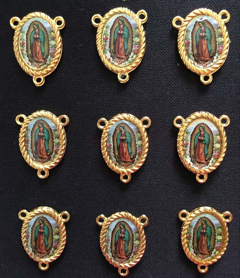 10PCS  Gold Color Our Lady Of Guadalupe Rosary Center Medals 3 Holes  Two Side Same Photo
