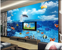 Custom Wallpaper 3D Stereoscopic Underwater World Of Dolphins And Fish For A Living Room Interior Backdrop