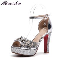 Alionashoo Fashion Buckle Crystals Bling Pumps Women Elegant Thin High Heels Open toe Party Wedding Shoes Woman Gold Silver
