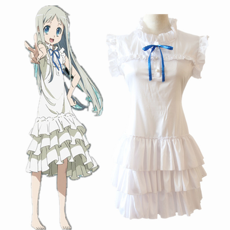 Anime Anohana The Flower We Saw That Day Cosplay Costume Honma Meiko Menma White Dress