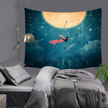 Hot sale fashion beautiful moon hill wall hanging tapestry home decoration tapiz pared 130x150cm