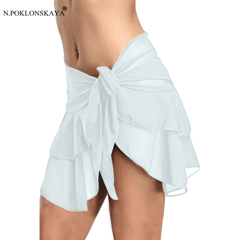 N.POKLONSKAYA Women Sexy Bikini Beach Skirt Soft Chiffon Mini Skirts Cover-ups Wrap Swimwear Bottoms Swimsuit Skirt Cover Up