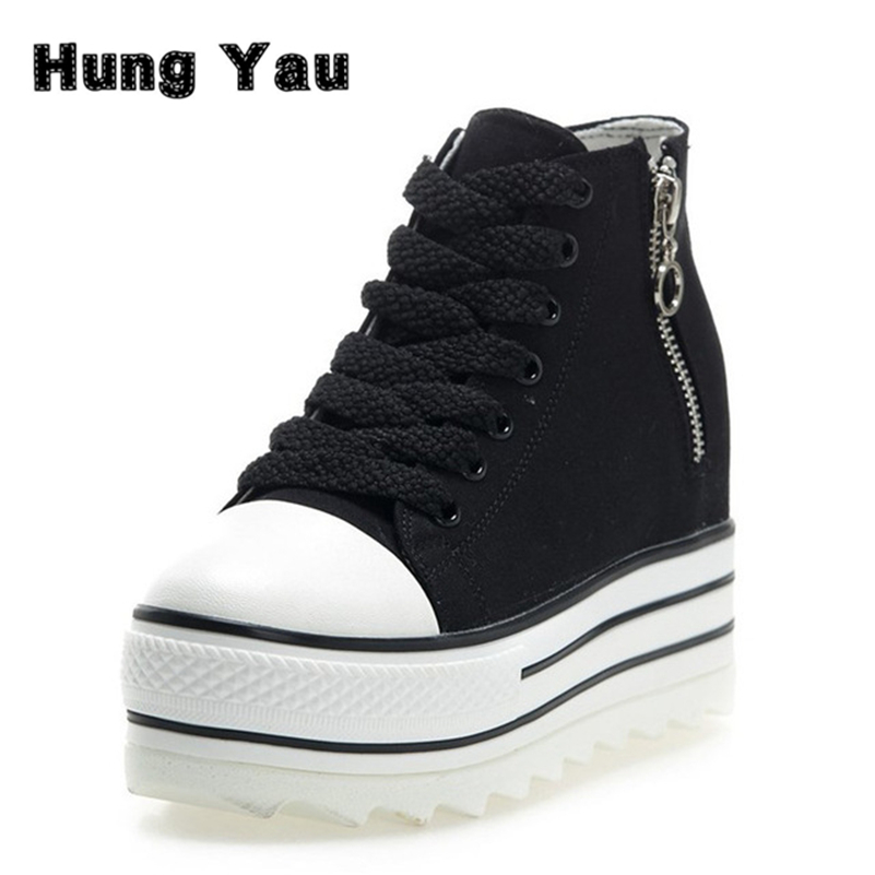 Fashion Women Canvas Shoes Classic High Style Flat Height Increasing Solid Zip Shoes Brand Breathable Platform Casual Shoes free shipping new arrival white height increasing women s high heel platform canvas shoes women solid color