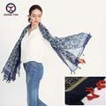 2016 hot sale fashion woman 110*190cm Scarf cotton and linen big retangle scarves short tassel flowers Women Winter lady shawls