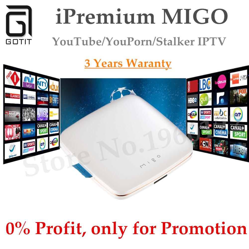 Prix pour GOTiT 2017 iPremium Migo Boîte Android Base MickyHop H.265 Quad Core 64-bit Soutien Arabe Europe IPTV Abonnement PK MAG254 250