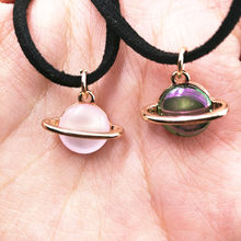 Timlee N050 Free shipping Grace Fashion Pink Planet Pendant Short Necklaces Wholesale(China)