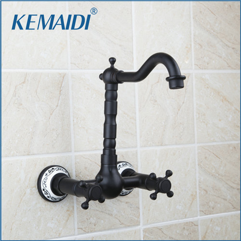 KEMAIDI Bathroom Vessel Vanity Wall Mounted Oil Rubbed Black Bronze Swivel Spout Bathtub Ceramic Handle Sink Faucet,Mixer Tap bathroom accessory wall mounted black oil rubbed bronze toothbrush holder with two ceramic cups wba451
