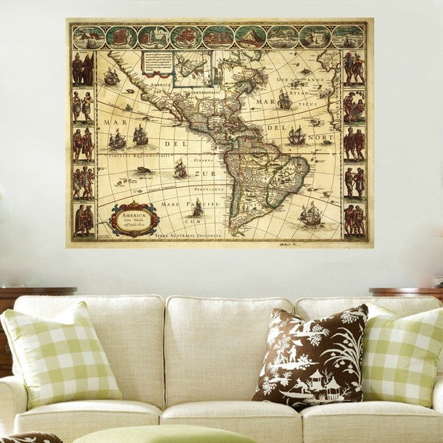 Beautiful Retro Picture Prints Vintage Old Map of American Cool Home ...