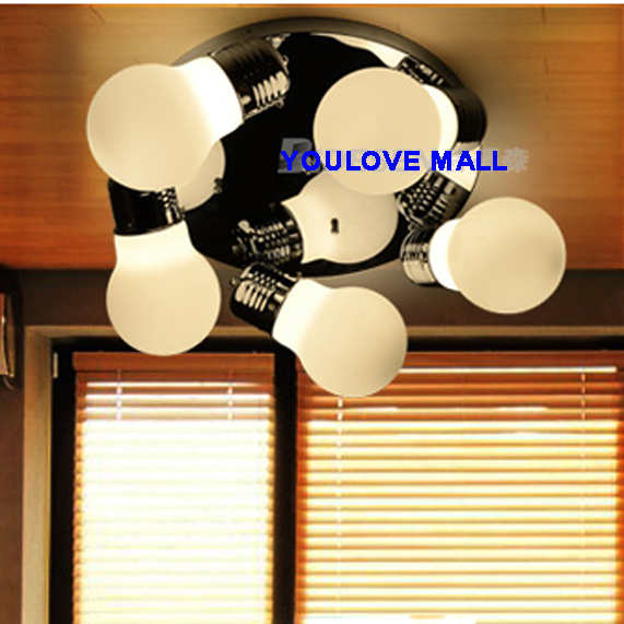 D60cm Classical Ceiling Lights Fixture 5 White Glass Bulbs Home Indoor Lighting Bedroom Flush Mount Ceiling Lamps AC110V 220V home plastic round flush mount cable connector hole plugs covers white 25x25mm 8pcs