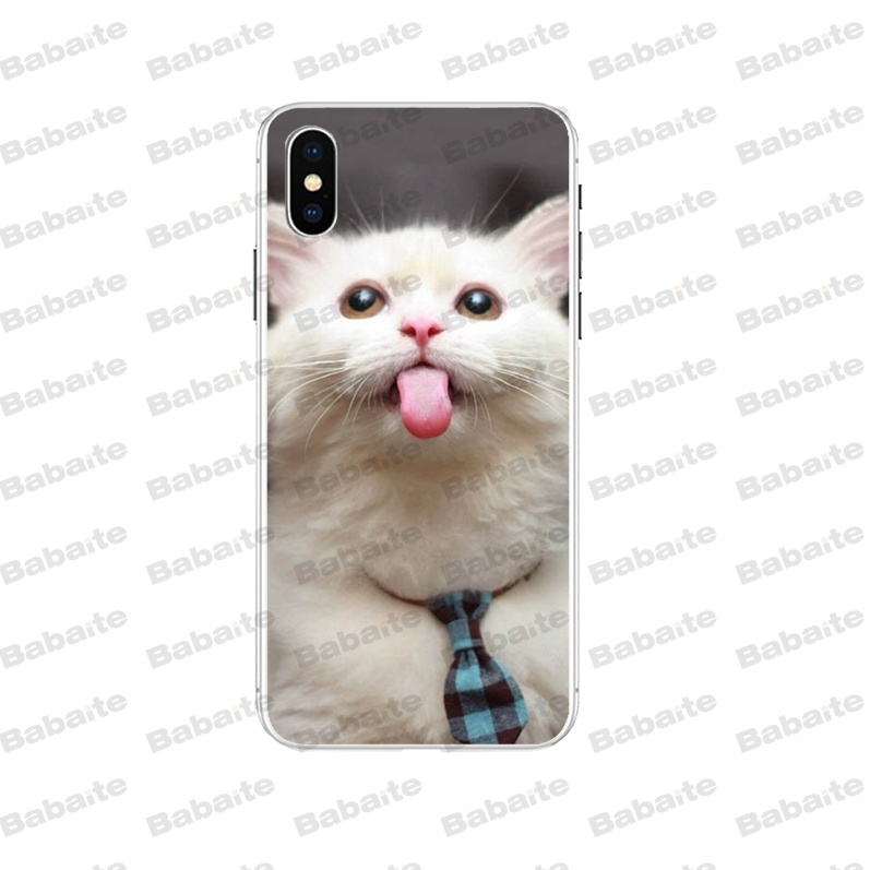 Babaite Cute tongue white cat Original Phone case cover for Apple iPhone 8 7 6 6S Plus X XS max 5 5S SE XR Cover in Half wrapped Cases from Cellphones Telecommunications