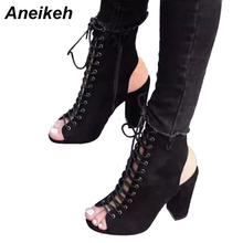 Aneikeh Women Roman Sandals High Heels  Hollow Cross Lace Up Gladiator Open Toe High Heel Woman Sandals Size 35-40