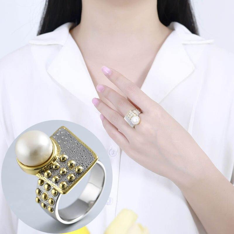 100% 925 argent sterling 10mm perle anneaux or fait à la main Design géométrique façade naturel Baroque perle anneaux pour femmes bijoux