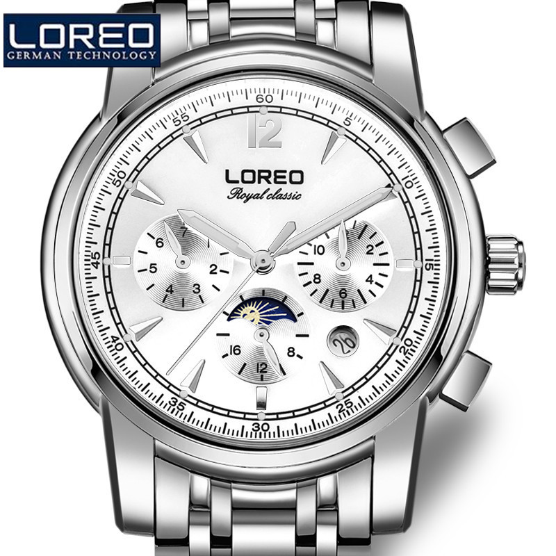 купить LOREO Fashion Men Stainless Steel Erkek Kol Saati Luminous Watch Automatic Mechanical Wristwatches Gift Box Relogio Releges J96 по цене 5884.5 рублей
