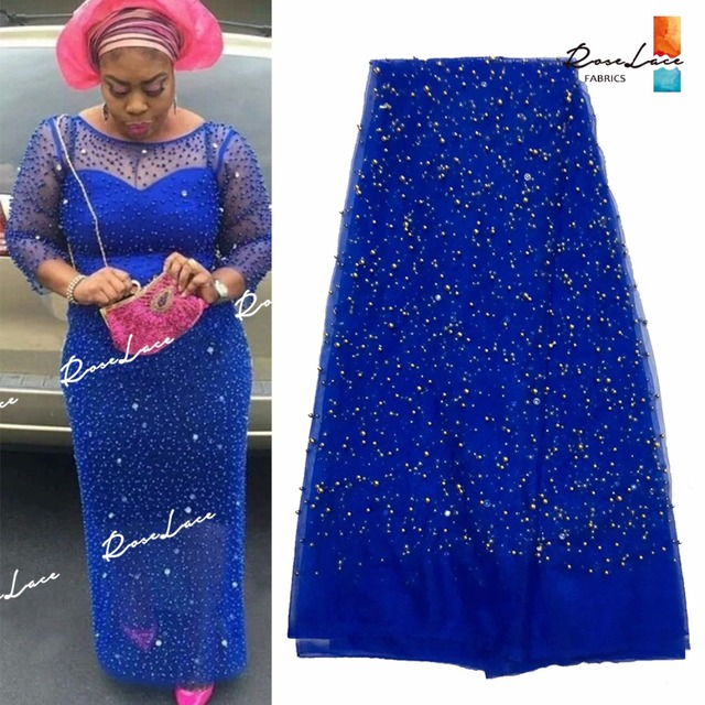 2017 Fashion Design African Big Stones Beaded Net Lace Fabric India Nigeria  Wedding Tulle Material French Stones Beads Mesh Lace e4ee34951a81