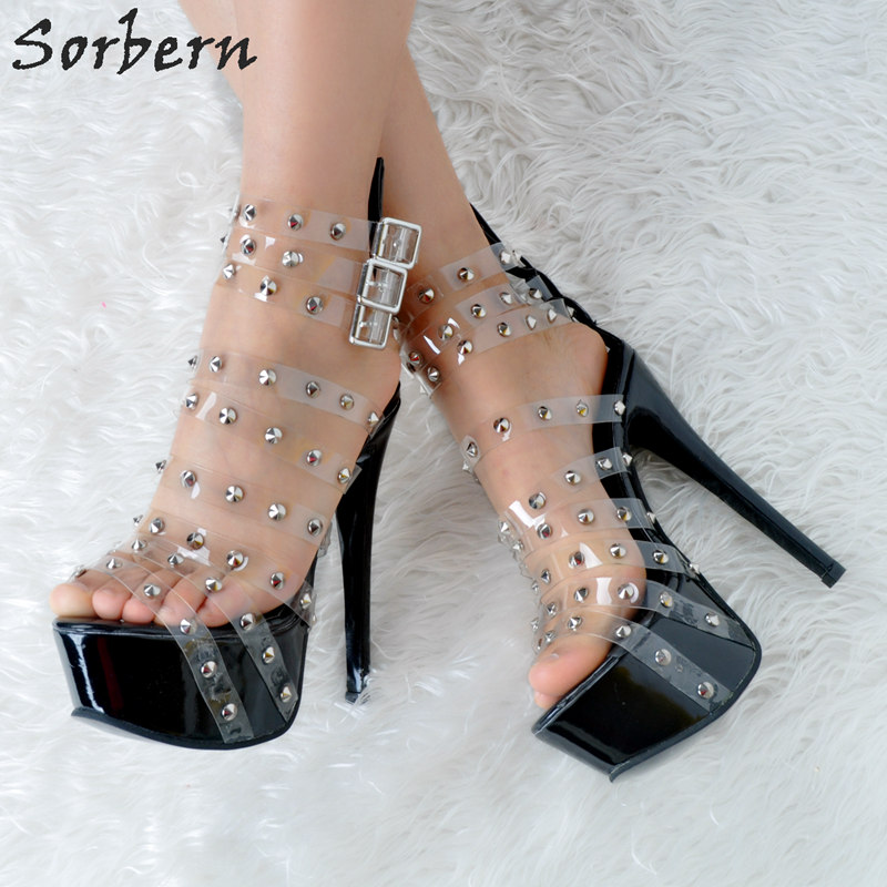 Sorbern Women Sandals Shoes PVC Rivets Buckle Strap Plus Size Womens Sandals Summer 2018 High Heels Sandals Women Sandalias sorbern women sandals shoes real image pvc clear heels buckle strap 15cm heels crystal sandalias mujer 2018 summer shoes women