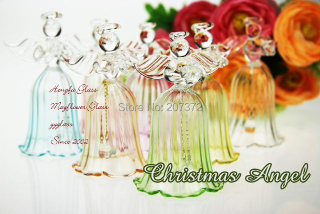 4pcs,5*5*8CM Transparent Glass Angel Wind Chime,Wedding Tabletop  Decoration, Christmas Tree Hanging Decoration