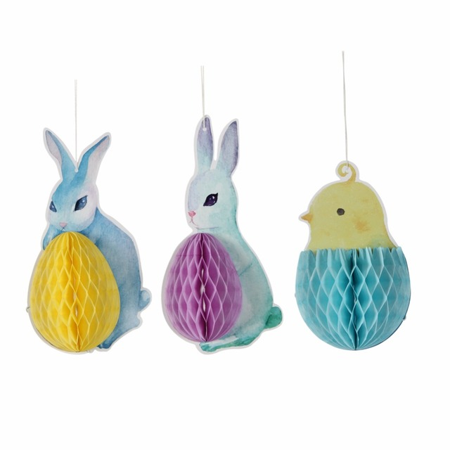 Set Of 3 Easter Bunny Rabbit Chick Honeycomb Hanging Decorations