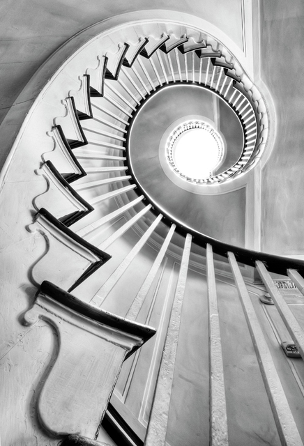 Photographic Picture Print On Canvas Black And White Picture Scenery Painting  Stairs Curve Giant Poster Modern