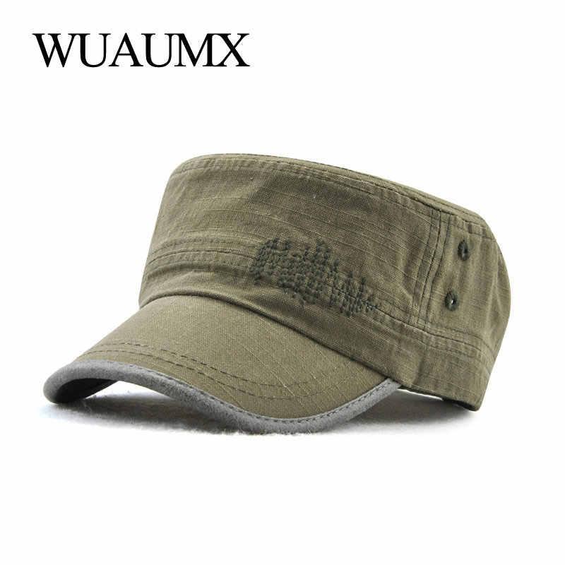a5badc7f8 FANCE Men Military Hats Flat Cap Cotton Soft Adjustable Snapback ...