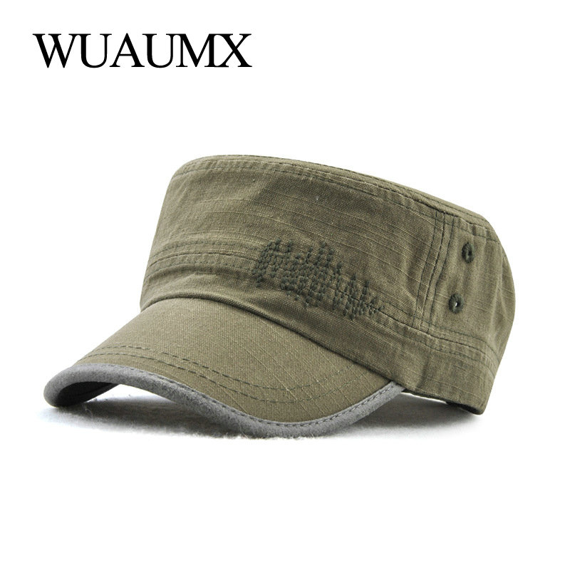 Wuaumx NEW Spring Summer Military Hats For Men Women Casual Flat Top Military Cap Army Cap Solid Black Hat Adjustable Wholesale