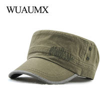 Wuaumx NEW Spring Summer Military Hats For Men Women Casual Flat Top Military Cap Army Cap Solid Black Hat Adjustable Wholesale(China)