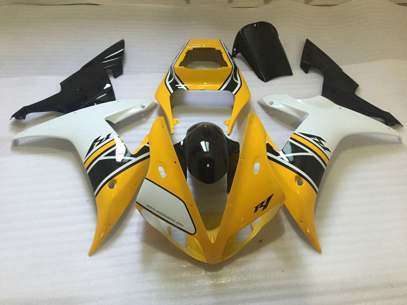 Motorcycle Fairing kit for YAMAHA YZFR1 02 03 YZF R1 2002 2003 yzfr1 YZF1000 Yellow white black ABS Fairings set+7gifts YM84