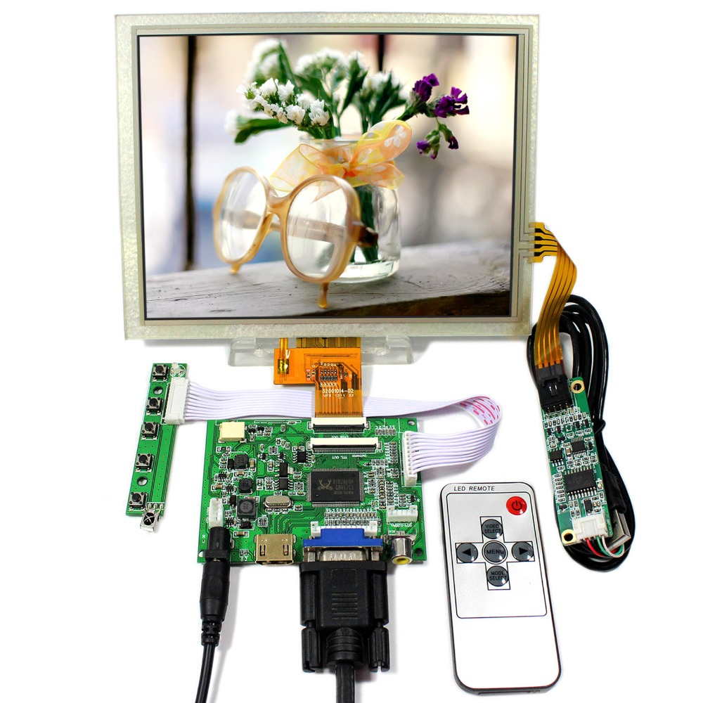 HDMI+VGA+2AV LCD Controller Board VS-TY2662-V5 8inch 1024x768 EJ080NA-04C LCD With Touch Panel hdmi vga 2av reversing lcd driver board work for 8inch at080tn52 ej080na 05a ej080na 05b 800 600 lcd panel